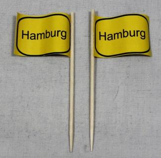 Party-Picker Flagge Ortsschild Hamburg Papierfähnchen in Spitzenqualität 50 S...