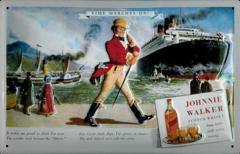 Blechschild Johnnie Walker Whisky Schiff Dampfer Kreuzfahrt Schild retro Werb...