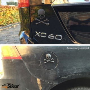 """Qualitäts 3D Autoaufkleber SCHWARZ """" Totenkopf"""" Metall Emblem Matt Black Stick... - Vorschau 2"""