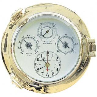 Uhr, Thermometer / Hygrometer im Bullauge 22cm Messing Wetterstation