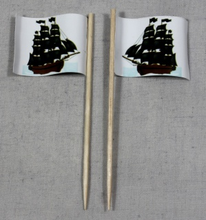 Party-Picker Flagge Pirat (6) Piratenschiff Papierfähnchen in Spitzenqualität...