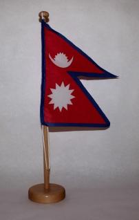 Tischflagge Nepal 15x15 cm optional mit Holz- oder Chromständer Tischfahne Ti...