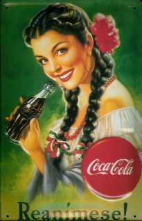 Blechschild Coca Cola Reanimese Mädchen mit Zöpfe Schild nostalgisches Werbes...