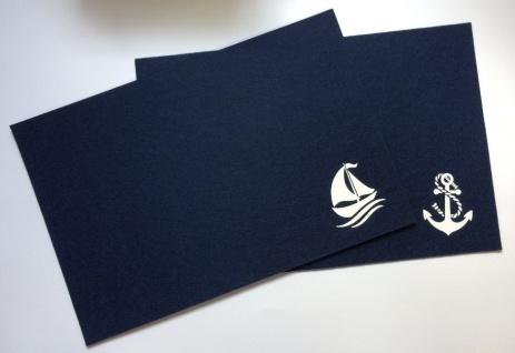 Platzset dunkelblau 2-teilig Anker und Schiff Filz Tischmatte