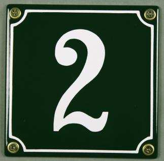 Hausnummernschild 2 grün 12x12 cm sofort lieferbar Schild Emaille Hausnummer ...
