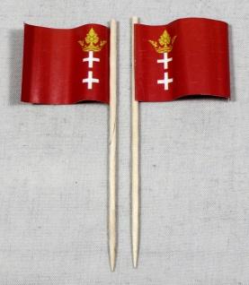 Party-Picker Flagge Danzig historisch Papierfähnchen in Spitzenqualität 50 St...