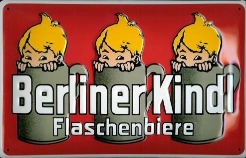 Blechschild Berliner Kindl Flaschenbiere rot Bier retro Reklame Schild Nostal...
