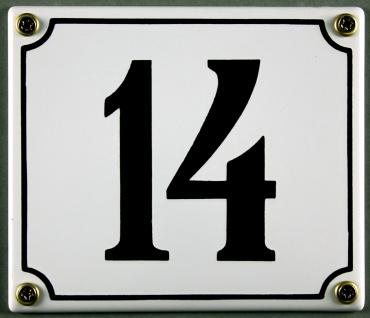 Hausnummernschild 14 weiß 12x14 cm sofort lieferbar Schild Emaille Hausnummer...