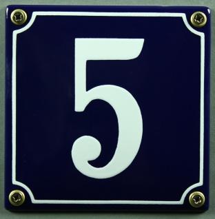 Hausnummernschild 5 blau - weiß 12x12 cm sofort lieferbar Schild Emaille Haus...