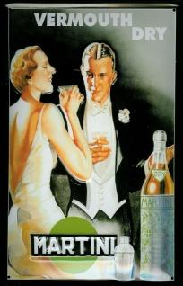 Blechschild Martini Vermouth (6) Dry Tanzpaar tanzen Aperitif Werbeschild ret...