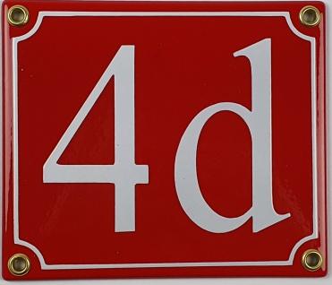 4d rot / weiß Serif 14x12 cm sofort lieferbar Schild Emaille Hausnummer