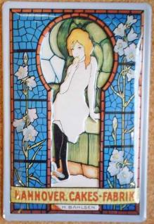 Blechschild Bahlsen Cakes Hannover Kirchenfenster Kekse retro Schild