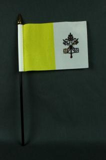Kleine Tischflagge Vatikan Papst 10x15 cm optional mit Tischfähnchenständer