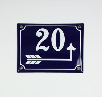 20 Pfeil rechts um die Ecke blau 20x16 cm sofort lieferbar Schild Emaille Hau...