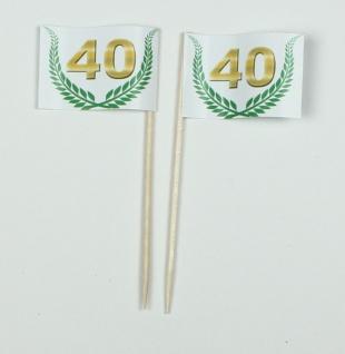 """Party-Picker Flagge Jubiläumskranz """" 40"""" Jubiläum Papierfähnchen in Spitzenqua..."""