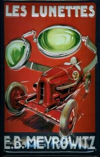 Blechschild Les Lunettes Rennwagen Meyrowitz Nostalgieschild Schild