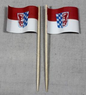 Party-Picker Flagge Niederbayern Papierfähnchen in Spitzenqualität 50 Stück B...