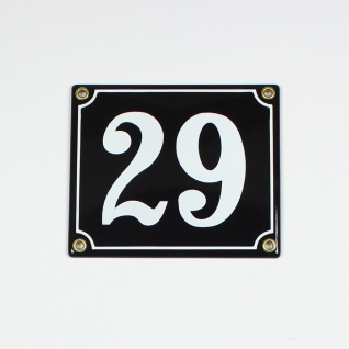 29 schwarz Clarendon 14x12 cm sofort lieferbar 2-stellig Schild Emaille Hausn...
