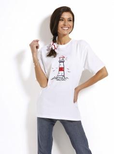Maritimes T-Shirt mit Leuchtturm blau oder weiß