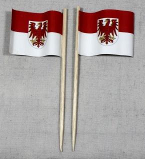 Party-Picker Flagge Brandenburg Papierfähnchen in Spitzenqualität 50 Stück Be...