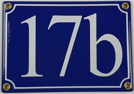 17b blau Serif 17x12 cm sofort lieferbar 3-stellig Schild Emaille Hausnummer