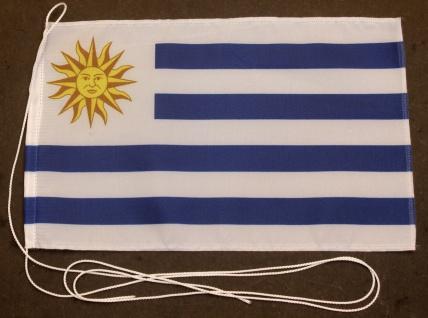 Tischflagge Uruguay 25x15 cm optional mit Holz- oder Chromständer Tischfahne ...