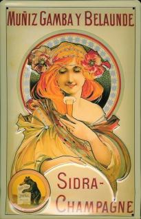 Blechschild Muñiz Gambay Bellaunde Sidra Champagne Sekt Champagner Schild