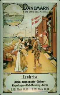 Blechschild Nostalgieschild Dänemark Rundreise Eisenbahn Schiff