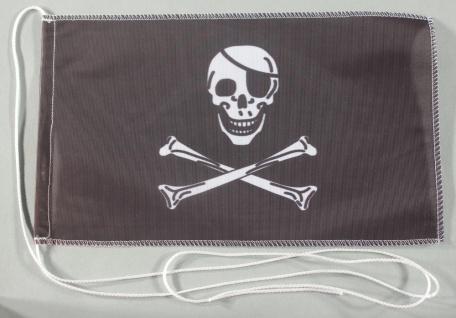 Tischflagge Pirat Piratenflagge Totenkopf 25x15 cm optional mit Holz- oder Ch...