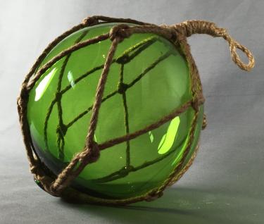 Deko Fischerkugel aus Glas grün 17 cm Tauwerk Netz
