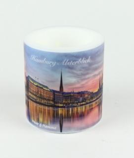 Stadtkerze Hamburg Alsterblick Kerze Windlicht Licht Souvenir HH