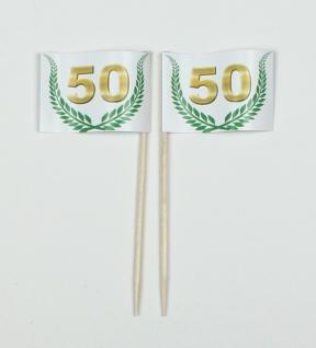 """Party-Picker Flagge Jubiläumskranz """" 50"""" Jubiläum Papierfähnchen in Spitzenqua..."""