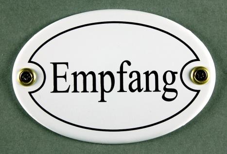 Emaille Türschild Empfang weiss oval Schild