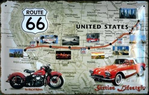 Blechschild Sixties Lifestyle USA Landkarte Auto Motorrad Schild Werbeschild ...