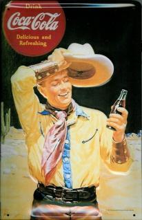Blechschild Coca Cola Cowboy nostalgisches Werbeschild retro Schild