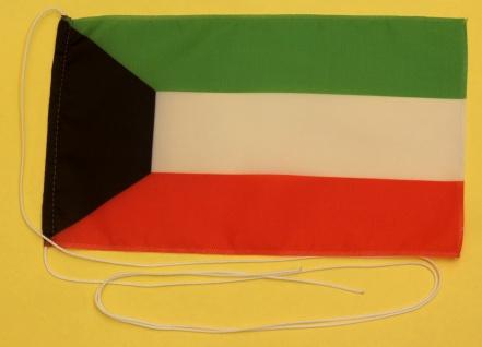 Tischflagge Kuwait 25x15 cm optional mit Holz- oder Chromständer Tischfahne T...