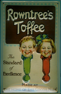 Blechschild Rowntree Toffee Cocoa Nibs Bonbons Schild Werbeschild