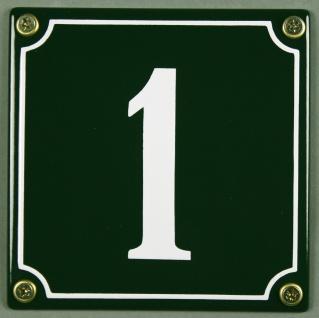 Hausnummernschild 1 grün 12x12 cm sofort lieferbar Schild Emaille Hausnummer ...