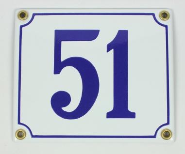 51 weiß/blau Clarendon 12x14 cm sofort lieferbar Schild Emaille Hausnummer
