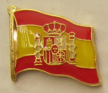 Pin Anstecker Flagge Fahne Spanien mit Wappen Nationalflagge