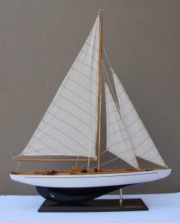 Schiffsmodell Segelyacht (weiß/blau) aus Holz 80x60 cm Modellschiff Schiffsmo...