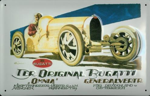 Blechschild Bugatti Omnia Oldtimer Rennwagen retro Schild Autorennen Nostalgi...