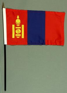 Tischflagge Mongolei 15x25 cm BASIC optional mit Tischflaggenständer