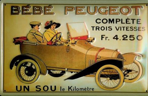 Blechschild Peugeot Bebe Oldtimer Auto Schild Nostalgieschild