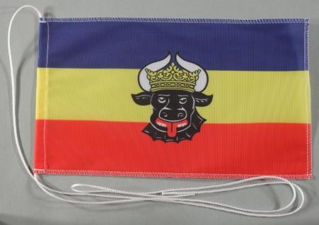 Tischflagge Mecklenburg Ochsenkopf 25x15 cm optional mit Holz- oder Chromstän...