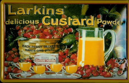 Blechschild Larkins custard powder Vanille Pudding Schild Werbeschild