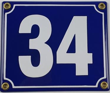 34 dunkelblau / weiß Blockschrift 14x12 cm sofort lieferbar Schild Emaille Ha...