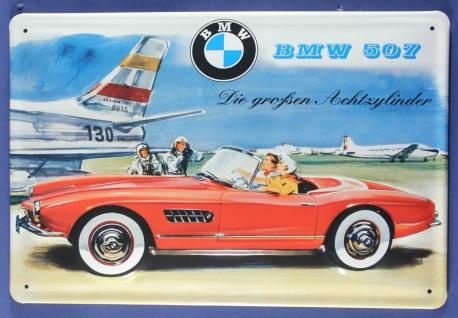 Blechschild BMW 507 Achtzylider Sportwagen Flugzeug Schild Werbeschild retro ...