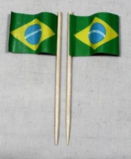 Party-Picker Flagge Brasilien Papierfähnchen in Spitzenqualität 50 Stück Beutel