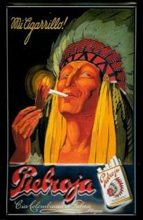 Blechschild Pieboja Zigaretten Indianer Schild Werbeschild Nostalgieschild
